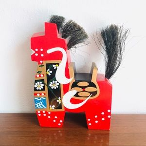 Vintage Japanese carved wood kokeshi dala horse